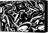 Louis Ferreira Art Canvas Prints - Chaos In BW Canvas Print by Louis Ferreira