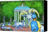 Goat Pastels Canvas Prints - Chapel Hill NC The Freshman Canvas Print by Laura Brightwood