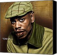 Airbrush Art Digital Art Canvas Prints - Chappelle Caricature Canvas Print by Justo Terez Jr