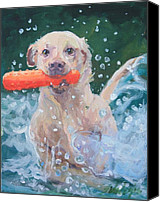 Labrador Retriever Canvas Prints - Charge On Canvas Print by Sheila Wedegis