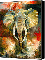 Stretched Canvas Prints - Charging African Elephant Canvas Print by Christiaan Bekker