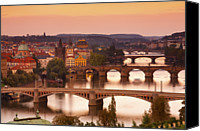 Charles Bridge Canvas Prints - Charles Bridge & The River Vltava At Sunset Canvas Print by Douglas Pearson