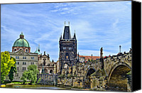 Charles Bridge Canvas Prints - Charles Bridge and Church Dome Canvas Print by Jon Berghoff