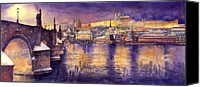 Charles Bridge Canvas Prints - Charles Bridge and Prague Castle with the Vltava River Canvas Print by Yuriy  Shevchuk
