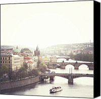 Vltava Canvas Prints - Charles Bridge Crossing Vltava River Canvas Print by Image - Natasha Maiolo