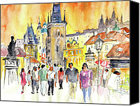 Charles Bridge Drawings Canvas Prints - Charles Bridge in Prague in The Czech Republic Canvas Print by Miki De Goodaboom