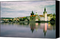 Charles Bridge Canvas Prints - Charles Bridge Over Vltava River Canvas Print by Bernd Schunack