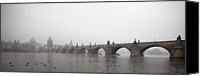 Charles Bridge Canvas Prints - Charles Bridge Panorama At Dawn Canvas Print by Alexandre Fundone