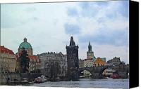 Prague Digital Art Canvas Prints - Charles Street Bridge and Old Town Prague Canvas Print by Paul Pobiak