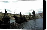 Prague Digital Art Canvas Prints - Charles Street Bridge in Prague Canvas Print by Paul Pobiak
