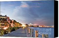 Night Photo Canvas Prints - Charleston Battery Photography Canvas Print by Dustin K Ryan