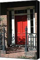 Photographs With Red. Canvas Prints - Charleston Red Door and Black Iron Gate Canvas Print by Kathy Fornal