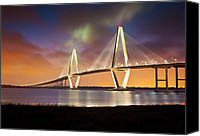 America Tapestries Textiles Canvas Prints - Charleston SC - Arthur Ravenel Jr. Bridge Cooper River Canvas Print by Dave Allen