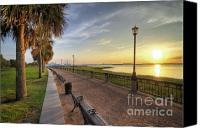 Park Benches Digital Art Canvas Prints - Charleston SC waterfront park sunrise  Canvas Print by Dustin K Ryan