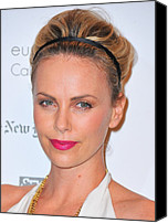 Updo Canvas Prints - Charlize Theron Wearing A Jennifer Behr Canvas Print by Everett