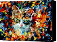 Oil Cat  Canvas Prints - Charming Cat Canvas Print by Leonid Afremov