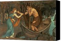 Mythological Canvas Prints - Charon and Psyche Canvas Print by John Roddam Spencer Stanhope