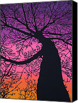 Fiber Art Tapestries - Textiles Canvas Prints - Charyou Tree Canvas Print by Kim Jacobi