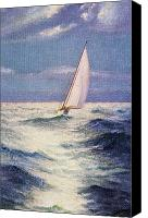 Sports Art Painting Canvas Prints - Chas Marer - Sailboat Canvas Print by Hawaiian Legacy Archive - Printscapes