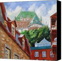 Quebec Painting Canvas Prints - Chateau Frontenac Canvas Print by Richard T Pranke