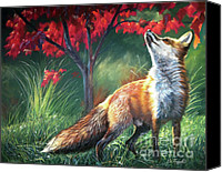 Fox Pastels Canvas Prints - Chatter Above Canvas Print by Deb LaFogg-Docherty