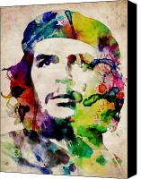 Watercolor Canvas Prints - Che Guevara Urban Watercolor Canvas Print by Michael Tompsett