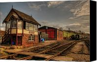 Signalbox Canvas Prints - Cheddleton Signalbox and Depot Canvas Print by David J Knight