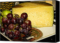 Barbara Middleton Canvas Prints - Cheese and Grapes Canvas Print by Barbara Middleton
