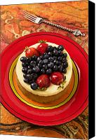 Foodstuff Canvas Prints - Cheesecake on red plate Canvas Print by Garry Gay