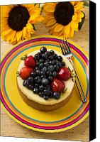 Foodstuff Canvas Prints - Cheesecake with fruit Canvas Print by Garry Gay