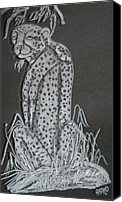 Cat Glass Art Canvas Prints - Cheetah Canvas Print by Akoko Okeyo