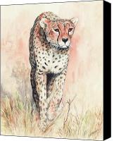 Cheetah Painting Canvas Prints - Cheetah Running Canvas Print by Morgan Fitzsimons