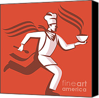Worker Canvas Prints - Chef Cook Baker Running With Soup Bowl Canvas Print by Aloysius Patrimonio
