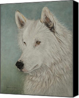 Wolf Pastels Canvas Prints - Chenoa Canvas Print by Teresa LeClerc