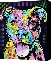 Dog Canvas Prints - Cherish The Pitbull Canvas Print by Dean Russo