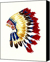 American Special Promotions - Cherokee Headdress Canvas Print by Michael Vigliotti