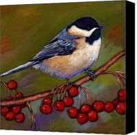 Garden Digital Art Canvas Prints - Cherries and Chickadee Canvas Print by Johnathan Harris