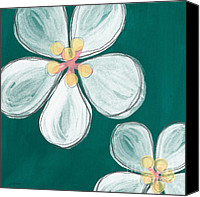 Teal Flowers Canvas Prints - Cherry Blossoms Canvas Print by Linda Woods
