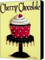 Cake-stand Canvas Prints - Cherry Chocolate Cupcake Canvas Print by Catherine Holman