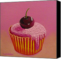 Cupcake Canvas Canvas Prints - Cherry Cupcake Canvas Print by John  Nolan