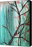Drips Mixed Media Canvas Prints - Cherry Tree Canvas Print by Carrie Jackson