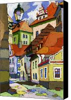 Old Pastels Canvas Prints - Chesky Krumlov Masna Street 1 Canvas Print by Yuriy  Shevchuk