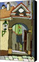 Old Pastels Canvas Prints - Chesky Krumlov Old Street Latran  Canvas Print by Yuriy  Shevchuk