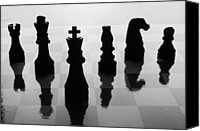 Chess Piece Canvas Prints - Chess Board And Pieces Canvas Print by Jon Schulte