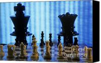 Chess Piece Canvas Prints - Chess board with King and Queen chess pieces in front of TV scre Canvas Print by Sami Sarkis