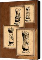Parchment Canvas Prints - Chess Pieces Canvas Print by Tom Mc Nemar