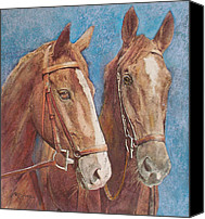 Equine Pastels Canvas Prints - Chestnut Pals Canvas Print by Richard James Digance