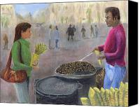 Vendor Painting Canvas Prints - Chestnuts Vendor Canvas Print by Peter Worsley