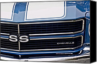 Muscle Car Photo Canvas Prints - Chevrolet Chevelle SS Grille Emblem 2 Canvas Print by Jill Reger