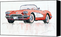 American Car Canvas Prints - Chevrolet Corvette C1 1960  Canvas Print by Yuriy  Shevchuk